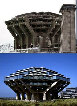 The Geisel Library as snow fortress? The connection is unconfirmed, but prett...