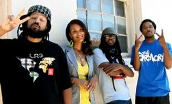 Members of the San Diego hip-hop group Deep Rooted. They take the stage at Ka...