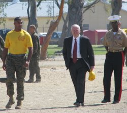 U.S. Secretary of Defense Robert Gates tours the Marine Corps Recruit Depot i...