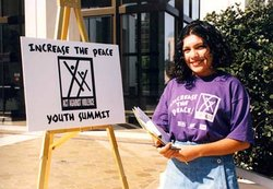 Increase the Peace Youth Summit teen host, Adrianna Barrera welcoming attende...