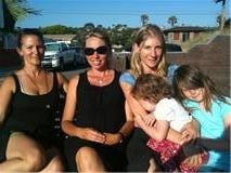 Mothers Robyjean Delia, Lara Hayes and Summer Boger with Boger's two children...