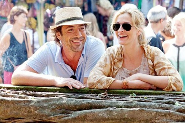 "Javier Bardem plays Prince Charming to Julia Robert's Liz in ""Eat Pray Love"""