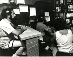 KPBS Producer Ron Stein (left) with colleagues during TV production.
