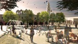 An artist's rendering of the future, pedestrian-only Plaza de Panama.