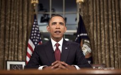 U.S. President Barack Obama speaks after a televised national address from th...