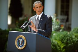 U.S. President Barack Obama delivers remarks to the press after his daily eco...