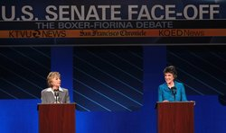U.S. Sen. Barbara Boxer (L) (D-CA) and republican candidate for U.S. Senate C...