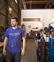 San Diego sculptor Matt Devine in his studio in the Barrio Logan-based Glashaus studio space.