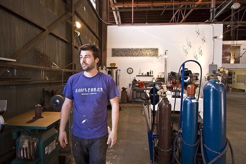 San Diego sculptor Matt Devine in his studio in...