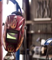 Devine's welding mask. He was one of the founders of Glashaus, along with sculptor Greg Brotherton of Device Gallery.