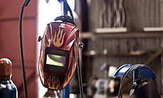 Devine's welding mask. He was one of the founde...
