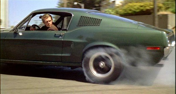 "Steve McQueen in the Mustang used for the chase in ""Bullitt"""