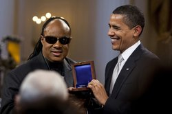 Stevie Wonder's receipt of the Library of Congress Gershwin Prize for Popular Song from President Obama on February 25, 2009 at the White House.