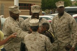 Marines deploying from Marine Corps Air Station Miramar said good-bye to fami...