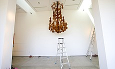 "Tim Horn's ""Diadem,"" freshly installed in the gallery space at Lux Art Institute."