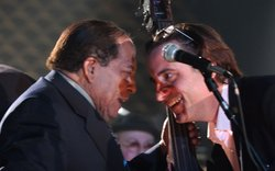 "Grammy-winning bassist Israel ""Cachao"" López (left) and actor Andy Garcia (ri..."