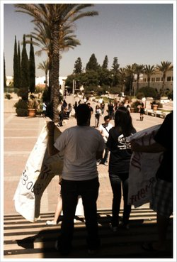 College students from throughout San Diego gather at the SDSU campus to hold ...