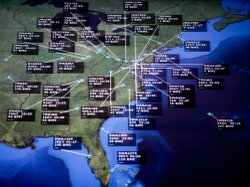 Air traffic control systems are part of the national infrastructure that may someday come under attack, experts say. Here, flights bound for Baltimore/Washington International Thurgood Marshall Airport are highlighted on a monitor