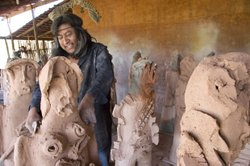 Oaxacan artist Alejandro Santiago (pictured working on clay sculptures) retur...