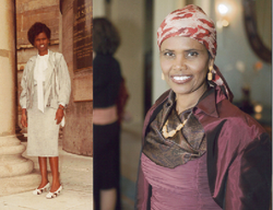 Amina Farah is a case worker at the International Refugee Committee in San Diego. Each day, she wears a long skirt and a head scarf to work (as seen in the picture on the right). She's a Muslim, but back when she lived in Somalia (picture on the left), it was okay to wear a mini-skirt. Nowadays, the newcomers from her homeland expect a woman to dress more modestly ever since Islamists came to dominate her war-wracked homeland.