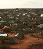 A view of some of the make-shift homes in a refugee complex August 23, 2009 in Dadaab, Kenya.