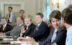 Historical photo of President Ronald Reagan in a meeting at the White House. Early in his term as president, Ronald Reagan seemed to put the evangelical's social agenda into action proposing constitutional amendments to ban abortion and reinstate prayer in public schools.