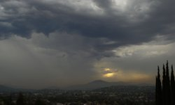 Dark clouds hover over San Diego's East County on Sept. 30, 2010.
