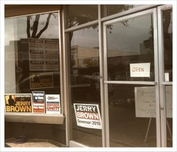 The storefront of the Escondido Democratic Club campaign office, which is try...