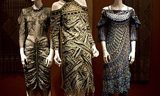 The dress in the middle is from Rhodes' Secrets of the Nile Collection from 1987. It's called the Egyptian Mummy Dress.