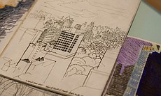 Some of Zandra Rhodes' sketchbooks are also on display at the Mingei. This one features a sketch of a Manhattan skyline.