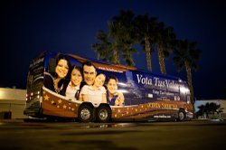 """The """"Vota Tus Valores"""" bus from the Carly Fiorina campaign, parked outside a Latino church in Chula Vista."""