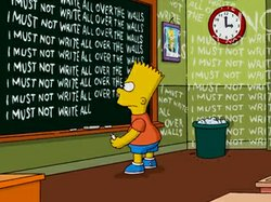 "Bart Simpson writes ""I Must Not Write All Over Walls"" in Sunday's opening credits to ""The Simpsons,"" designed by street artist Banksy."