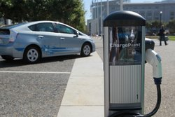 A new electric vehicle charging station is seen near San Francisco city hall ...
