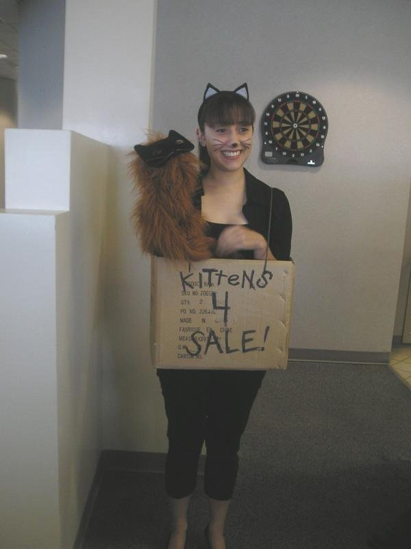 This is Delia Rugamas in her cute/clever costume Kittens for SALE.