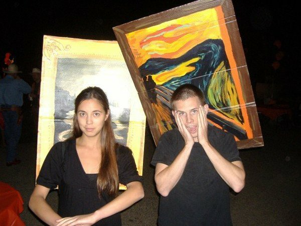 "This is one for the Culture Lusters in all of us. Brandon & Kara Leen's homemade Halloween costumes, ""Mona & Munch."" Nice!"