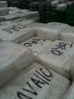 Smugglers had marked each brick of marijuana with names or initials like