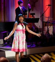 "Assata Alston performs ""Gimme Gimme"" from ""Thoroughly Modern Millie"" during ""A Broadway Celebration: In Performance at the White House"" in the East Room of the White House, July 19, 2010."