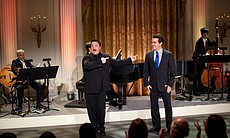 "Nathan Lane and Brian d'Arcy James perform ""Free"" from ""A Funny Thing Happened on the Way to the Forum"" during ""A Broadway Celebration: In Performance at the White House"" in the East Room of the White House, July 19, 2010."