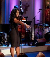 "Audra McDonald performs ""Can't Stop Talking About Him"" during ""A Broadway Celebration: In Performance at the White House"" in the East Room of the White House, July 19, 2010."