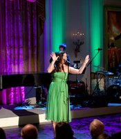 "Idina Menzel performs ""Defying Gravity"" from ""Wicked"" during ""A Broadway Celebration: In Performance at the White House"" in the East Room of the White House, July 19, 2010."