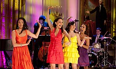 "Karen Olivo, Yanira Marin, Shina Ann Morris, and Jennifer Sanchez perform ""America"" from ""West Side Story"" during ""A Broadway Celebration: In Performance at the White House"" in the East Room of the White House, July 19, 2010."