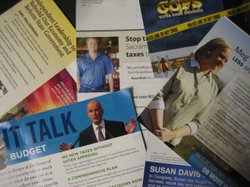 A collection of unwanted political mail from Ed Joyce's mailbox.