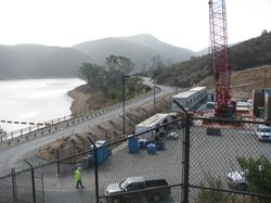 The construction site on Lake Hodges, where the San Diego County Water Author...