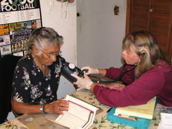 Public health nurse Linda Mayberry makes frequent house calls to Journey of t...