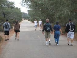 Hikers enjoying a stroll at Torrey Pines State Beach Park in San Diego, Calif.