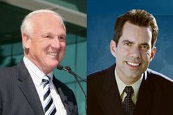 Ron Roberts (L) and Stephen Whitburn, candidates in the race for San Diego Co...