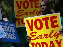 A union- and Democratic-sponsored Vote Early Today rally in Miami earlier thi...