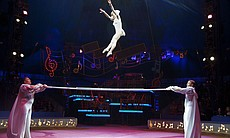 The Rodion Trio performs on the Russian barre. Big Apple Circus Founder Paul ...