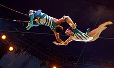 The Flying Cortes trapeze troupe