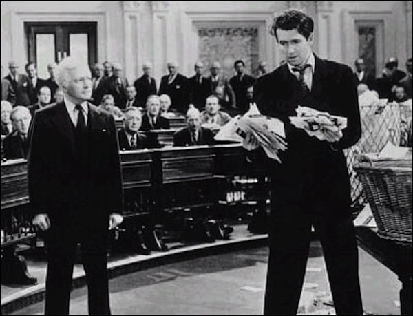 "Claude Rains as the corrupt senior senator and James Stewart as the idealistic junior one in Frank Capra's ""Mr. Smith Goes to Washington."""